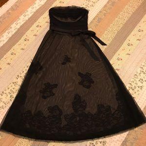 BCBG MaxAzria black lace dress mid century style